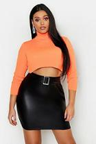 Boohoo Plus Leather Look Belted Mini Skirt