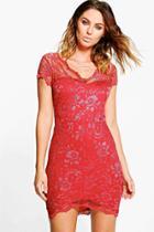 Boohoo Gia Scallop Lace Bodycon Dress Cinnamon