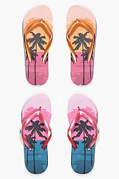 Boohoo Ruby Ombre Palm Print Two Pack Flip Flop