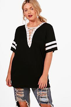Boohoo Plus Imogen Lace Up Baseball T-shirt