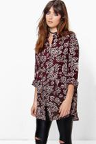 Boohoo Lilly Floral Print Oversized Shirt Berry