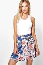 Boohoo Elle Floral Skater Skirt