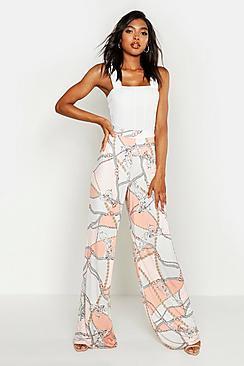 Boohoo Tall Chain Print Wide Leg Trousers