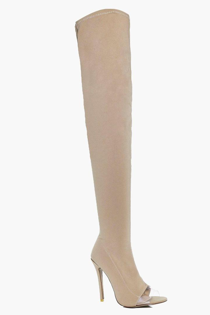 Boohoo Darcy Thigh High Clear Insert Boot Camel