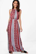 Boohoo Sally Paisley Print High Neck Maxi Dress Red