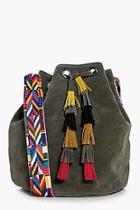 Boohoo Louise Aztec Strap & Tassel Duffle Bag