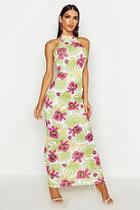 Boohoo High Neck Floral Palm Maxi Dress