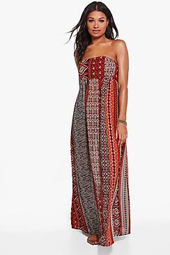 Boohoo Vanessa Burnt Maxi Beach Dress