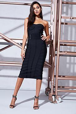 Boohoo Premium Ava Corset Waist Bandage Midi Dress