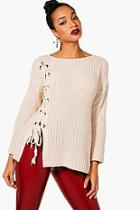 Boohoo Lace Up Front Knitted Jumper