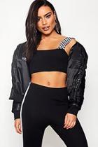Boohoo Charlotte Crop Padded Jacket With Fur Mini Hood