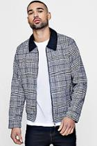 Boohoo Cord Collar Prince Of Wales Check Harrington