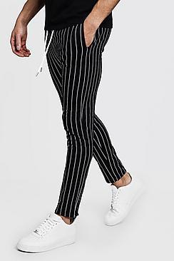 Boohoo Skinny Fit Striped Joggers