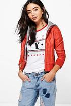 Boohoo Imogen Faux Leather Hooded Biker Jacket