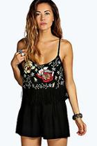 Boohoo Hazel Embroidered Frill Strappy Fringed Playsuit