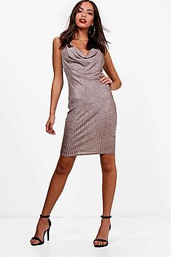 Boohoo Nicole Drape Front Metallic Knit Dress