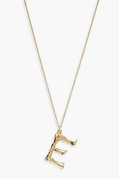Boohoo Bamboo E Initial Pendant Necklace