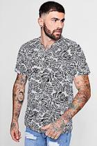Boohoo Leaf Print Short Sleeve Revere Shirt