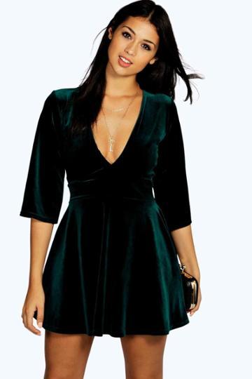 Boohoo Emma Velvet Plunge Empire Seam Skater Dress Emerald