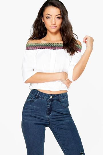 Boohoo Tall Mabelle Off The Shoulder Woven Trim Top Cream