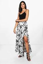 Boohoo Naomi Floral Ruffle Side Maxi Skirt