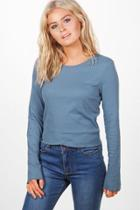 Boohoo Emma Ribbed Ruffle Hem Long Sleeve Tee Blue