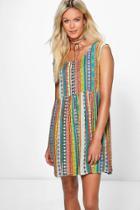 Boohoo Maisie Printed Smock Dress Multi