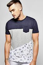Boohoo Spliced Pocket T Shirt With Print