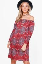 Boohoo Adelina Paisley Print Shift Dress Rust