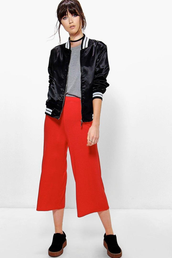 Boohoo Adara Jersey Basic Long Line Wide Leg Culottes Orange