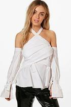 Boohoo Esme Wrap Detail Cold Shoulder Woven Top