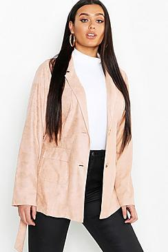 Boohoo Plus Suede Pocket Detail Belted Blazer