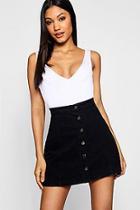 Boohoo Western Style Button Through Denim Skirt