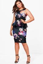 Boohoo Plus Georgie Floral Sleeveless Peplum Dress Multi