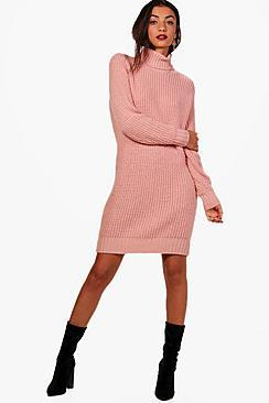 Boohoo Tall Avery Roll Neck Jumper Dress