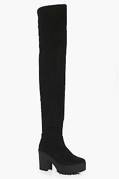 Boohoo Cleated Thigh High Boots