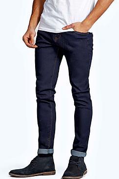 Boohoo Raw Indigo Skinny Smart Jeans