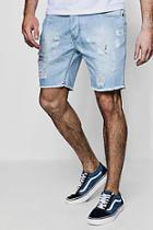 Boohoo Slim Fit Paint Splatter Denim Shorts