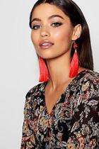 Boohoo Pom And Long Tassel Earrings