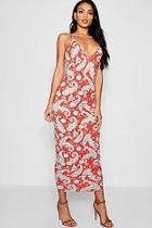 Boohoo Red Paisley Maxi Dress