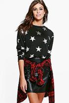 Boohoo Sophie Star Metallic Print Sweater