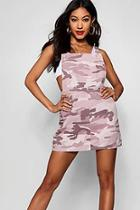 Boohoo Pink Washed Camo Denim Pinafore Dress