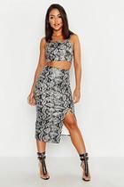 Boohoo Snake Print Faux Leather Midi Skirt