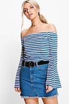 Boohoo Lucy Stripe Off The Shoulder Top