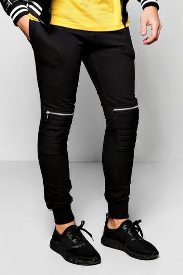 Boohoo Biker Knee Zip Joggers Black
