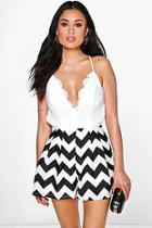 Boohoo Aylin Printed Crochet Strappy Playsuit