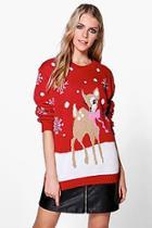 Boohoo Niamh Reindeer Christmas Jumper