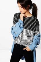 Boohoo Anna Contrast Stripe Long Sleeve Crop Top Multi