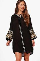 Boohoo Petite Jess Boutique Embroidered Smock Dress
