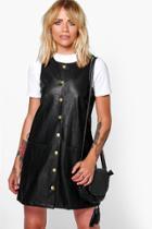 Boohoo Morris Button Popper Pu Pinafore Dress Black